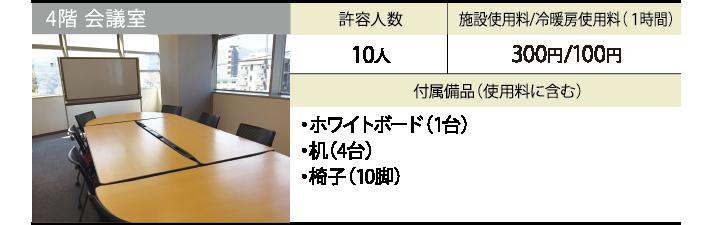 4階 会議室 許容人数 10人 施設使用料/冷暖房使用料(1時間) 300円/100円