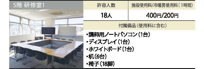 5階 研修室1 許容人数 18人 施設使用料/冷暖房使用料(1時間) 300円/200円