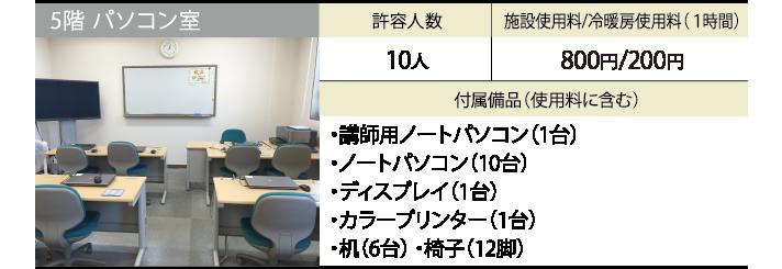 5階 パソコン室 許容人数 10人 施設使用料/冷暖房使用料(1時間) 800円/200円